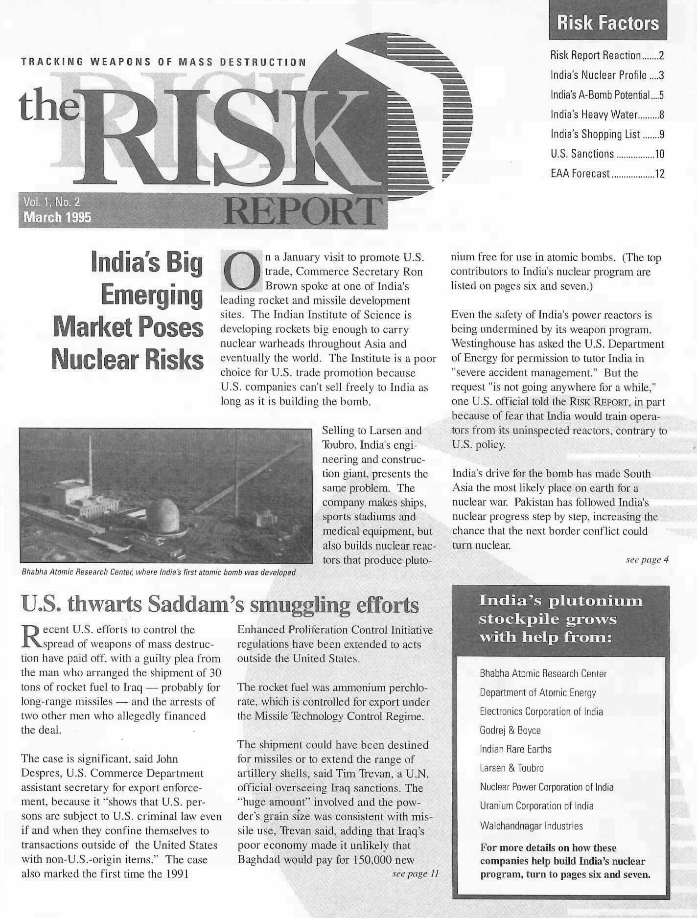 Risk Report – Wisconsin Project on Nuclear Arms Control